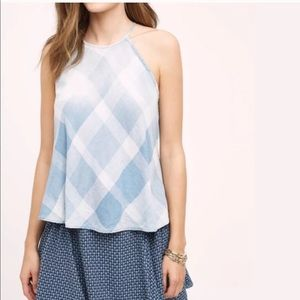 Anthropologie Cloth & Stone Plaid Halter Tank S